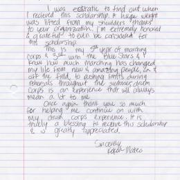 Alumni Scholarship Letter - 2012