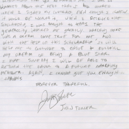 Alumni Scholarship Letter - 2013